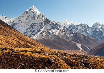 ama, dablam, everest, región, himalaya, nepal