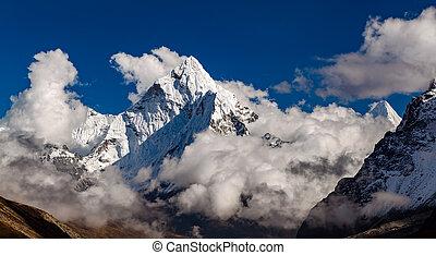 ama, dablam, fjäll, in, himalaya, inspirational, landskap, nepal