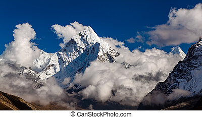 ama, dablam, hegy, alatt, himalaya, belélegzési, táj, nepál