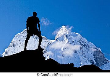 ama, Himalaya, paesaggio, monte,  dablam