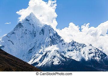ama, montanhas, dablam, paisagem, himalaya