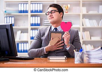 amado, sentimento, amor, escritório, homem negócios