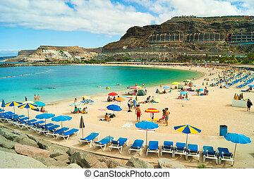 Amadores beach, Gran Canaria - View over Amadores beach on...