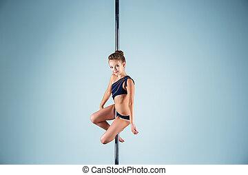 amaestrado, joven, pilón, ejercicios, elegante, niña, fuerte...