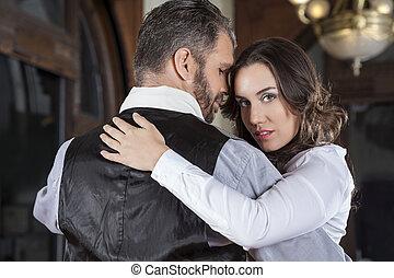 amaestrado, tango, bailarín, hembra, retrato, hombre