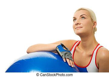 amaestrador de la aptitud, relajante, después, ejercicio