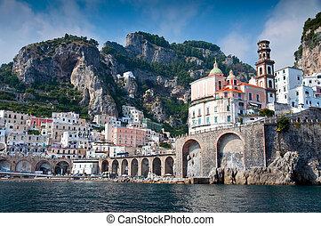 Amalfi Coast from the Sea, in Italy