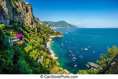 Panoramic view of famous Amalfi Coast with beautiful Gulf of Salerno, Campania, Italy