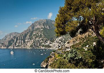 Amalfi coast south of Positano in Campagna, Italy