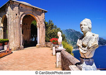 Amalfi Coast terrace - Statue lined terrace at Ravello,...