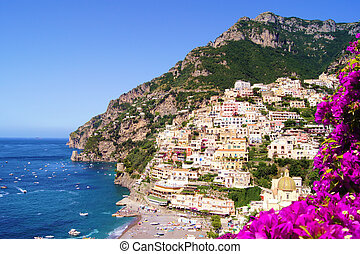 View of Positano with flowers, Amalfi Coast, Italy