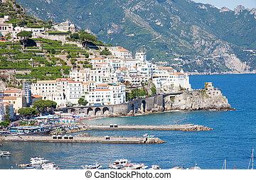Amalfi, Italy - Panoramic view of Amalfi in the Amalfi...