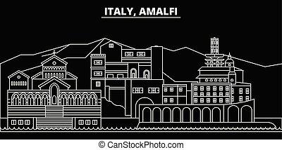 Amalfi silhouette skyline. Italy - Amalfi vector city, italian linear architecture, buildings. Amalfi travel illustration, outline landmarks. Italy flat icons, italian line banner