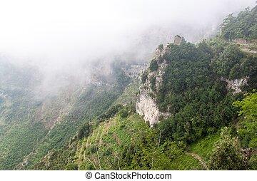 amalfi, skalisty, krajobraz, brzeg