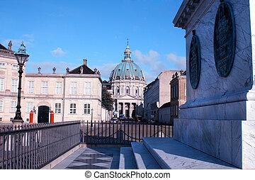 amalienborg, hiver, famille, danemark, -, palais, maison, copenhague, royal