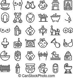 amamentação, ícones, jogo, esboço, estilo