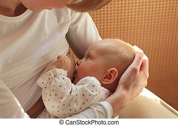 amamentando, bebê, mãe