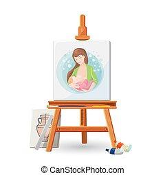 amamentando, quadro, mulher, madeira, cavalete, escova, bebê