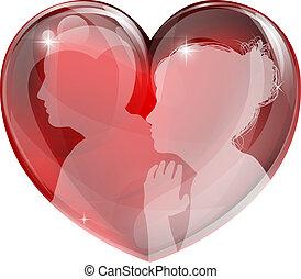 amando, coração, mulher, homem
