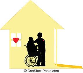 amando, cuidado, de, cautela casa, e, pallative, cuidado