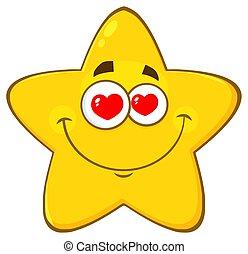amando, estrela amarela, caricatura, emoji, rosto, personagem, com, corações, olhos