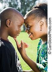 amando, mãe, africano, filho