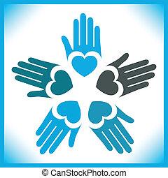 amando, mãos, círculo, design.