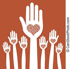 amando, mãos, design.