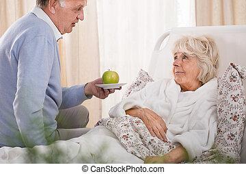 amando, marido, e, doente, esposa