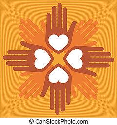 amando, unidas, hands.