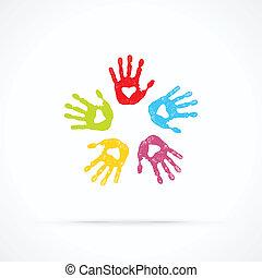 amando, unidas, mãos