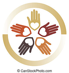 amando, unidas, mãos, vector.