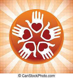 amando, unidas, pessoas, design.