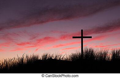 amanecer, cielo, cruz, rojo