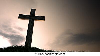 amanecer, colina, crucifijo