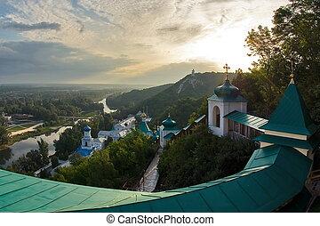 amanecer, en, svyatogorsk, monasterio
