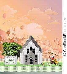 amanecer, fiesta, iglesia de la parroquia, cosecha