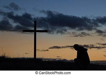 amanecer, hombre, cruz