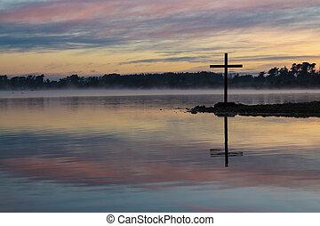 amanecer, lago, cruz
