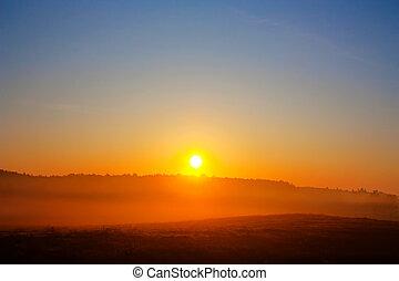 amanecer, paisaje rural