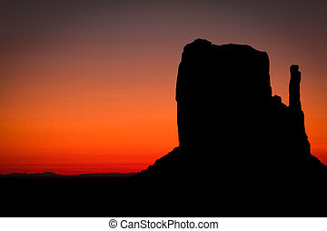 amanecer pintoresco, en, monument valley