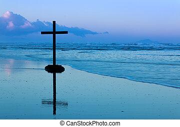 amanecer, playa, cruz