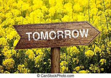 amanhã, roadsign