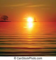 amanhecer, abstratos, árvore, mar, fundo