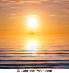 amanhecer, abstratos, iate, mar, fundo