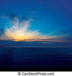 amanhecer, abstratos, nuvens, mar, fundo