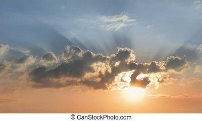 amanhecer, céu, clouds.