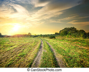amanhecer, e, estrada, em, a, campo