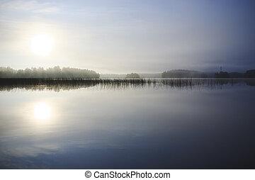 amanhecer, em, a, lago