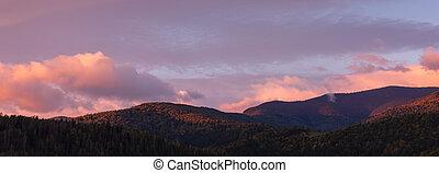 amanhecer, em, a, manhã, sobre, a, montanhas